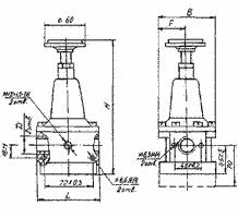 Чертёж, габаритные размеры клапан редукционный П-МК 05-10, П-МК 05-16.